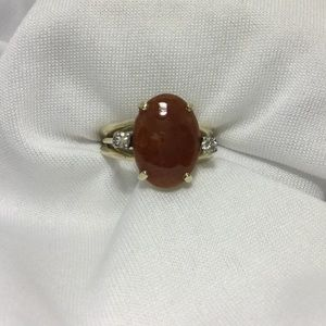 14k Gold Red Jade And Diamond Ring